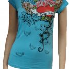 Blue True Love Heart Tattoo Design Tee Size Small