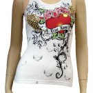 White True Love Heart Tattoo Design Ribbed Tank Top Size Large