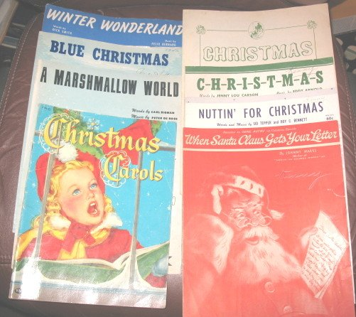 Lot Christmas Sheet Music Winter Snow Santa Claus Carols