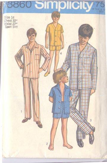 Simplicity 8860 Teen Boy Size 14  Pajamas 2 Lengths Uncut