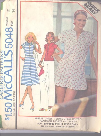 Simplicity 5048 Size 12 Misses Dress, Tennis Dress Top Knits