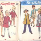 3 Simplicity Girls Size 8 Patterns Blouse Vest  Suit with Skirt Pants Jacket
