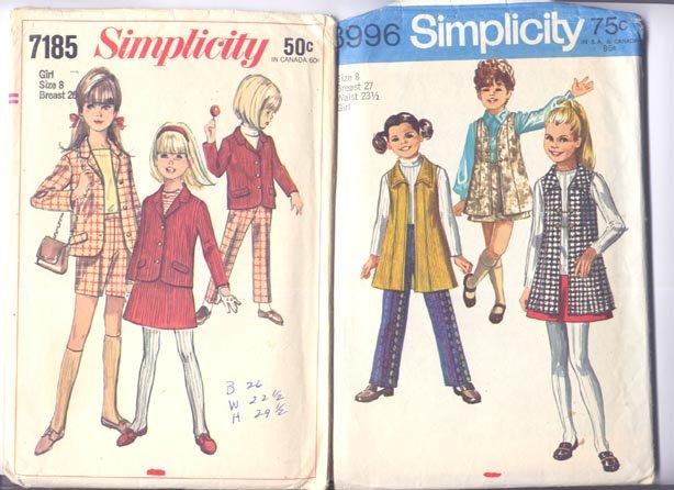 2 Simplicity Girls Size 8 Patterns Unused Uncut Dress Jumper