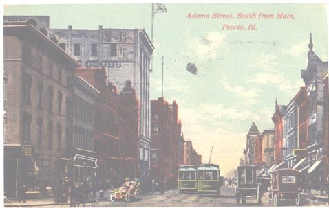 Adams Street South from Main Peoria Il Trolley Cars 1910 Postcard