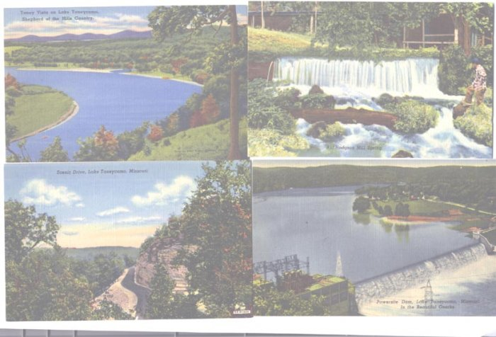 4 Linen Postcards Lake Taneycomo Missouri Ozarks