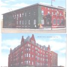 Linen Postcards Rockford IL Elks Club Nelson Hotel Unused