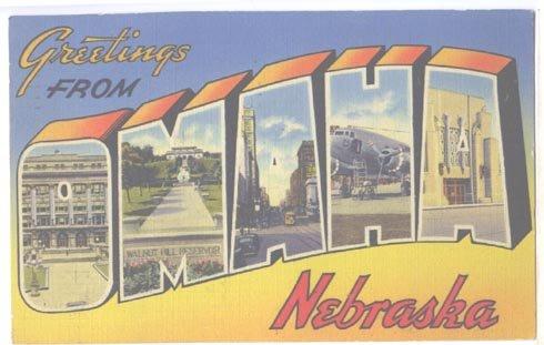 Omaha Nebraska Large Letter Linen Postcard 1941