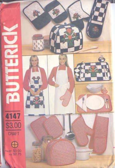 Pattern Kitchen Acessories Apron Napkins Placemats Pot Holders & Mitt Butterick 4147
