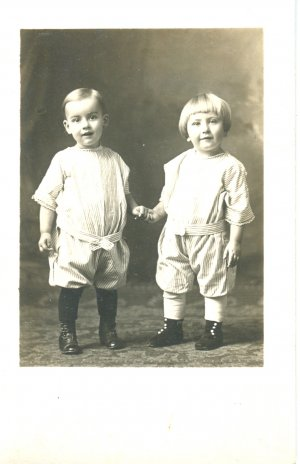 RPPC Boy and Girl Toddler Twins 1920's Romper Suits