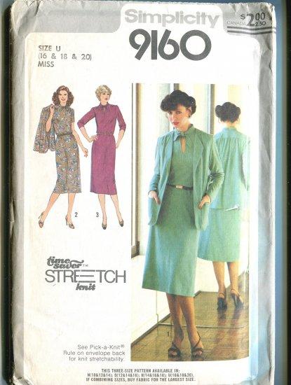Simplicity 1979 Size U (16 - 18- 20)  Time Saver Stretch Knit Pattern 9160 Uncut