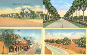 9 Vtg Linen Postcards Rio Grande Texas Brownsville Port Scene