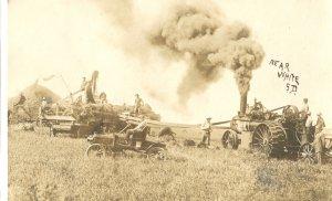 Steam Engine Threshing South Dakota White S.D. RPPC 1933