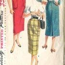 Simplicity 1346 Size Waist 26  Misses Slim Line Skirt  Pattern Circa 1950's