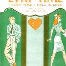 Ev'ry Time Ev'ry Time I Fall in Love 1944 Sheet Music Piano Vocal Uke