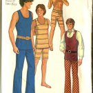 Simplicity 9385 Teen Boy Size 14  Used Retro 1971 Hip Hugger Pants