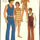 Simplicity 9385 Teen Boy Size 14  Used Retro 1971 Hip Hugger Pants
