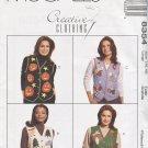 McCall's Misses Size Large 16-18 Lined Vests Pumpkins Angels Fishing Uncut 8354