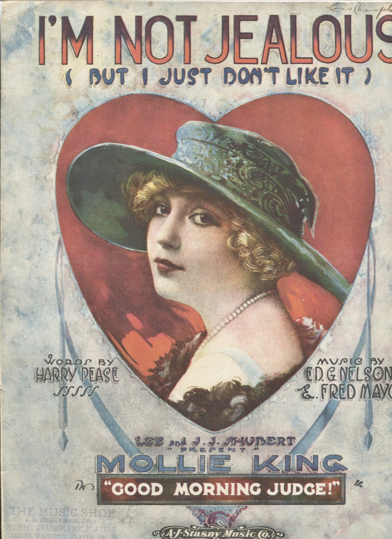 I'm Not Jealous 1919 Sheet Music A.J.Stasny Music