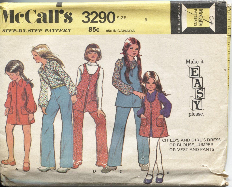 Girls Size 5 McCalls Pattern 3290 Make it Easy Dress Blouse Jumper Vest Pants
