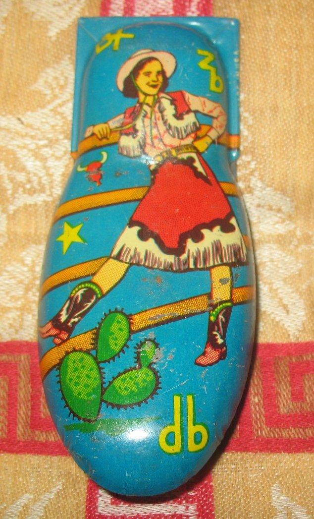 Kirchhof Tin Toy Vintage Clicker Cowgirl  Noisemaker