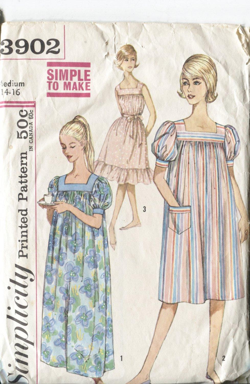 Simplicity Size Medium 14-16  3902 Misses Muu Muu Nightgown Long & Short