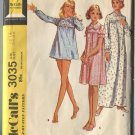 McCalls Pattern 3035 Misses Nightgown and Panties Size 12-14 1971 Uncut