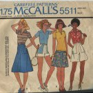 McCalls Pattern 5511 Size 12 Misses 1977 Top and Culottes Shorts Tennis Golf Sports