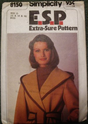 Simplicity 8150 Size 12-14-16 1975 Misses Jacket Extra Sure 1977