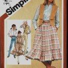 Simplicity 9851 Size 10 Misses Western Style Skirt Vest Blouse Square Dance 1980 1982