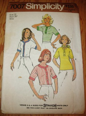 Simplicity 7007 Size 12 1975 Misses Casual Tees Stretch Knits