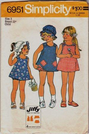Simplicity Size 3 Girls Pattern 6951 Childs SunDress Pants Hat