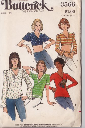 Butterick 3566 Misses Size 12 Shirt Pattern Sized for Moderate Knits