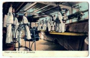 Target Practice on U. S. Battleship 1909 Postmark on Postcard Navy Sailors
