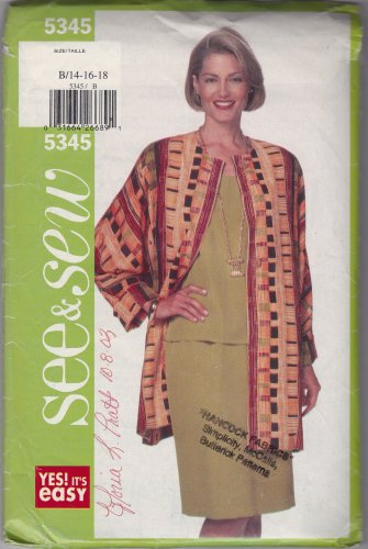 Butterick Jacket Pattern 5345 Size B 14-16-18 Jacket Top Skirt Easy