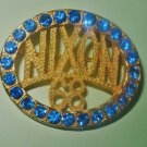 Political Brooch Nixon 68 with Blue Rhinestones