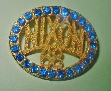 Political Brooch Nixon 68 with Blue Rhinestones