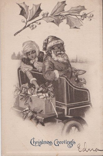 A Christmas Greeting Santa Claus Driving Auto With Gifts