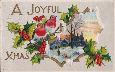 A Joyful Christmas Embossed Vintage Postcard