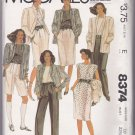 McCall's 8374 Size 10 Pattern Misses Jacket, Top, Skirt, Pants, Shorts