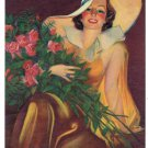 Vintage Calendar Art Art Deco Lady Roses Bouquet Free Ship