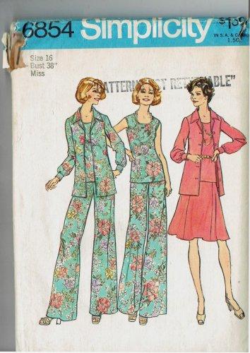 Simplicity 6854 Wide Leg Pants Blouse Top Skirt Size 16 Sewing Pattern UNCUT