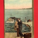 Vintage comic Postcard - Steam Ship & Lost man on dock 457