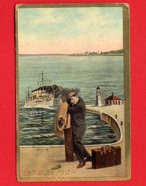 Vintage comic Postcard - Steam Ship & Lost man on dock 457
