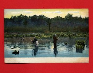 Vintage Postcard - Fishing in a pond with duck decoy 255