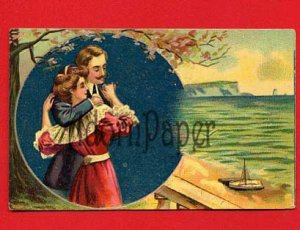 Vintage Postcard - Lovers - Loving couple by the sea L48