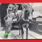 Vintage Real Photo Postcard RPPC - PA Pennsylvania coalminers & horse pulling coal cart 943