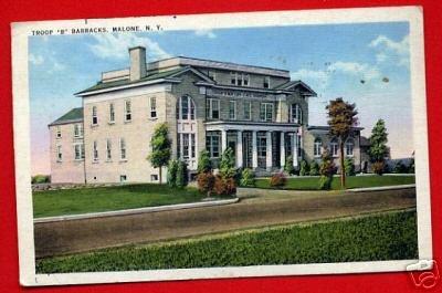 Vintage Postcard - Troop B barracks c1943 WW2 era - Malone NY 862