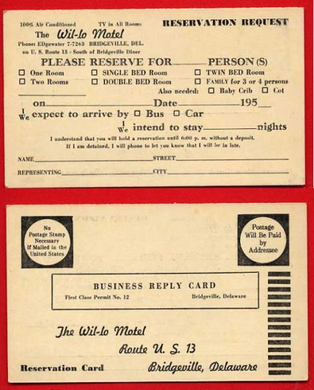 Vintage postcard - Wil-lo Motel fill-in blanks reservation request 873