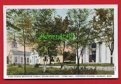 Vintage Postcard - 1st UU Unitarian Church - Duxbury MA - est 1632  939