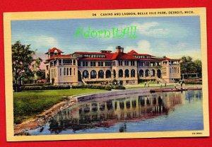 Vintage Postcard - Casino & Lagoon - Belle Isle Park Detroit MI 940